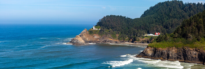 Heceta Head Lighthouse  between Yachats and Florence Oregon on the Pacific Ocean in August, panoramic. Wall mural