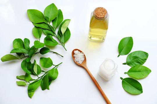 natural herbal oral care product from lemon leaves, salt, mouthwash for dental hygiene