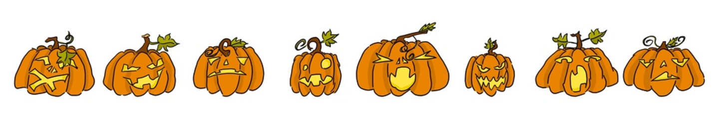 funny pumpkins on a white background doodle