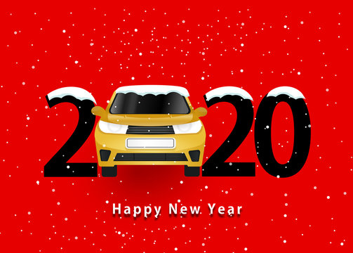 happy new year 2020. 2020 with car on red bacground and snow