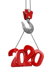 2020 on crane hook. Image with clipping path.