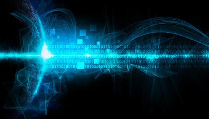 tecnologia futurista, futuro, informatica, sfondo nero Wall mural