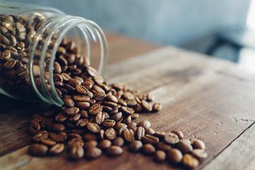 coffee bean on the wood desk