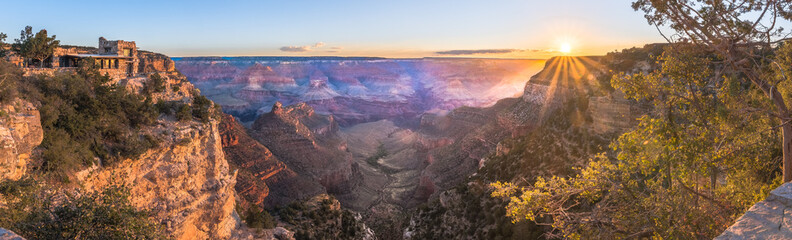 Grand Canyon zu Sonnenaufgang Panorama Wall mural