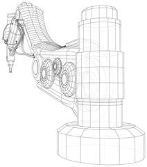 Industrial robot manipulator. Wire-frame on white background. EPS10 format. Vector created of 3d, Wire-frame.