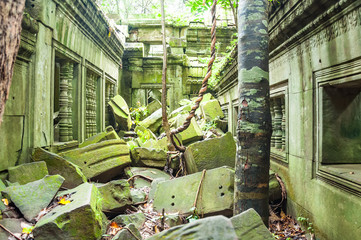 Ancient buddhist khmer temple in Angkor Wat, Cambodia. Beng Melea