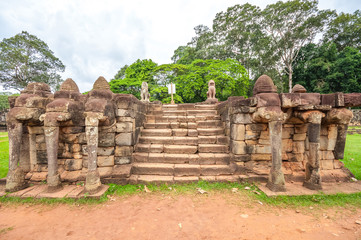 Ancient buddhist khmer temple in Angkor Wat, Cambodia. Terrace of the Elephants