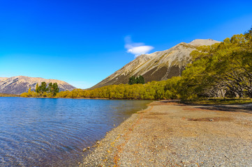 southern alpine alps mountain range at Lake Pearson Arthur's pass National Park New Zealand