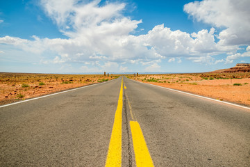 Scenic empty roadway in grand canyon