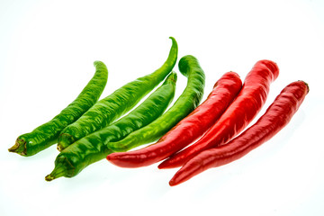 fresh hot chili on white background.