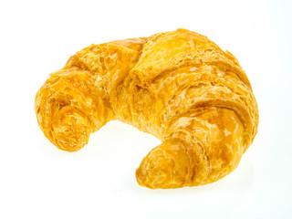 big fresh croissants on white background