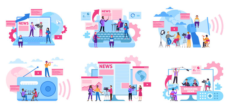 Journalist concept. Mass media profession, internet and radio journalism, digital tv. Interview recording with cameraman vector set