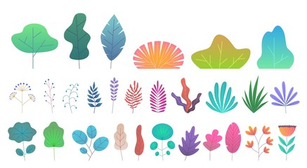 Flat minimal leaves. Simple green trees, branches and bushes. Trendy nature gradient plant and tropical foliage vector isolated set