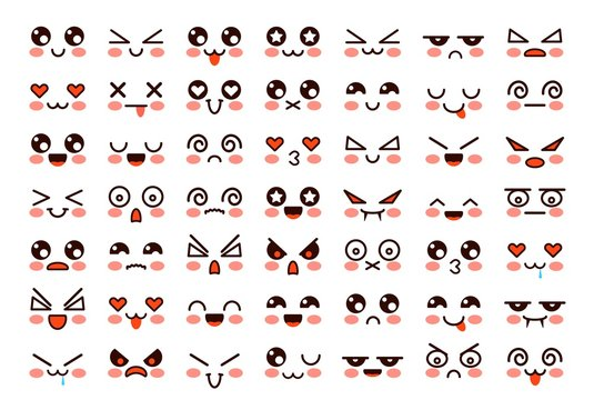 Kawaii faces. Cute cartoon emoticon with different emotions. Funny japanese emoji with eyes and mouth, comic expressions vector characters