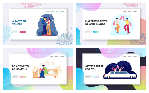 Love Dating Friendship Illness Limousine Party Website Landing Page Set. Couple Meeting, Sick Man Take Drugs, Friends Beat Hand, Girls Celebrate in Car Web Page Banner Cartoon Flat Vector Illustration
