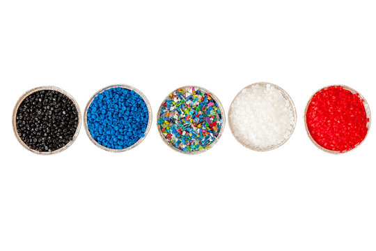 Close-up of plastic polymer granules. polymer plastic. compound polymer.