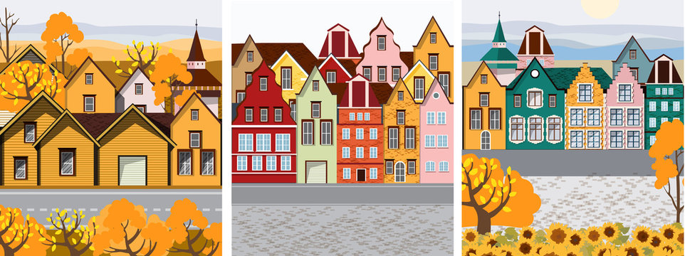 Pack of Old retro town with colorful buildings and cobblestone paved road in front. Flat cartoon vector