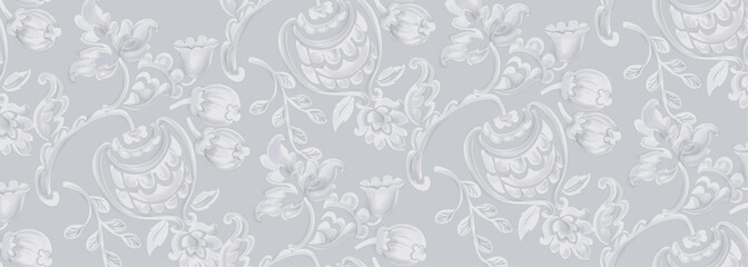 Rococo texture pattern Vector. Floral nament decoration. Victorian engraved retro design. Vintage grunge fabric decors. Luxury fabrics
