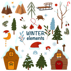 set of isolated winter elements - vector illustration, eps
