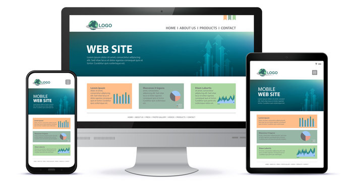 Responsive Website Design With Desktop Computer Screen, Mobile Phone and Tablet PC Vector Illustration.