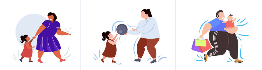 set fat obese people in different poses overweight mix race male female characters collection obesity unhealthy lifestyle concept flat full length horizontal