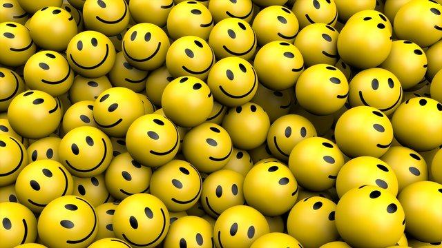 yellow smileys in social media concept 3D rendering