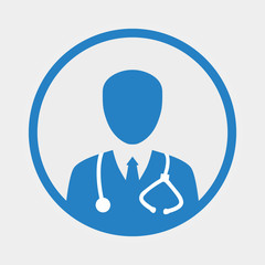 Vector modern flat design circle icon on medic doctor person with stethoscope and black tie on white background