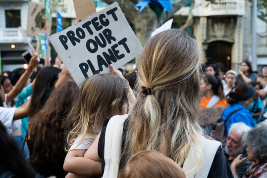 Barcelona, Catalonia. Thousands of people took to the streets as part of the worldwide movement. Global Climate Strike, international, protests and action against climate change.