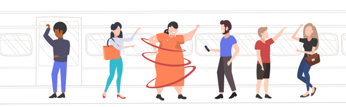 fat obese woman inside subway metro train overweight sweaty girl with mix race passengers in public transport obesity concept horizontal full length