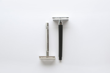 Razors for hair removal on white background