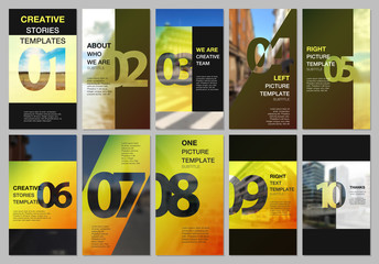 Creative social networks stories design, vertical banner or flyer templates with numbers. Easy to edit and customize. Covers design templates for flyer, leaflet, brochure, presentation, advertising.