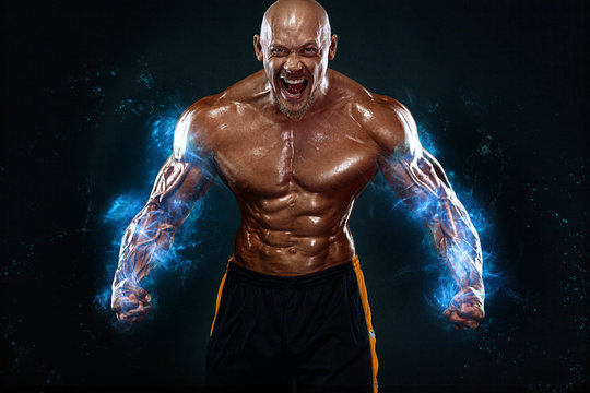 Bodybuilding competitions on the scene. Handsome and fit man sportsmen bodybuilder physique and athlete. Men's fitness and sport motivation. Individual sports recreation.