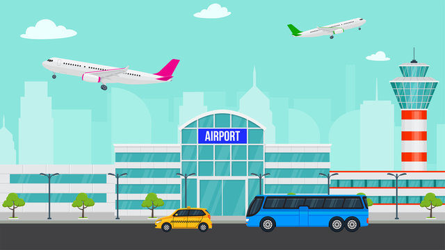 Royalty-free stock vector ID: 1174199608 Vector airport illustration with a plane takes off. Flat airport concept and city landscape. Taxi and bus near airport. Passengers coming to airport by bus and