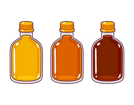 Cartoon syrup bottles