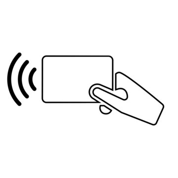 wireless NFC vector icon. pay pass illustration symbol. Credit card and hand tap pay wave logo or sign.