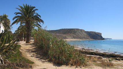 View of Praia de la Luz, Portugal in searing summer heat