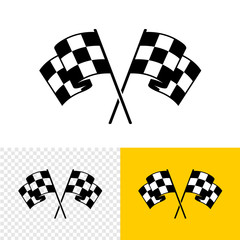 Checkered race flags crossed. Two start or finish flags in a cross. Automotive or sport attribute. Solid fill objects.