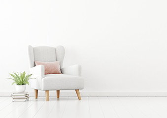 Living room interior wall mockup with white fabric armchair, pink pillow and green fern plant on empty white wall background. 3D rendering, illustration.