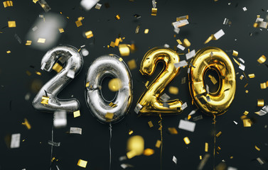 New year 2020 celebration. silver and gold foil balloons numeral 2020 and confetti on black background