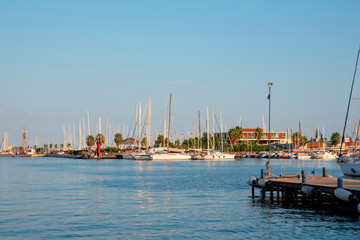 Deurstickers Turkije Pier with boats, blue sea and sky