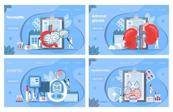 Adrenal glands, hypothyroidism concept. Tiny doctors treat pancreas, graves disease, diagnose diabetes