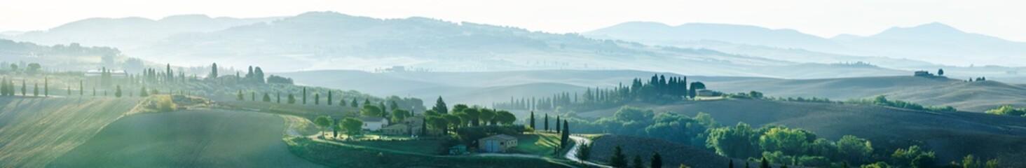 Panoramaansicht von Pienza Richtung Monte Amiata