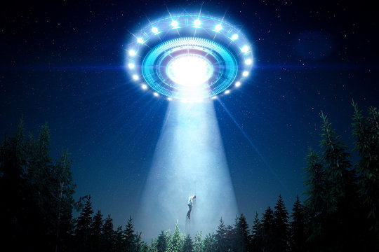 Abducted man by a flying saucer with a bright light ray in the forest - 3D rendering