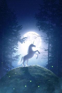 Fairy Tale unicorn in a moonlight night forest - 3D rendering