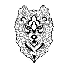 Vector illustration of a lion head for coloring  book antistress