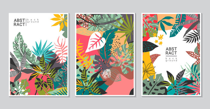 Vector collection of trendy creative cards with cut paper, floral exotic tropical elements, palm leaves
