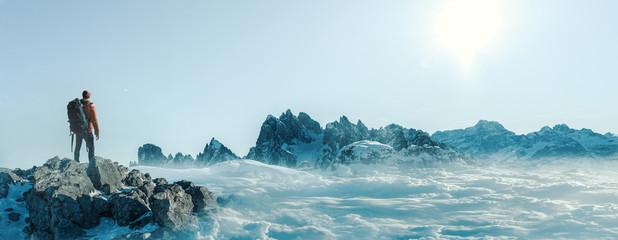 Poster Light blue Gipfel - Bergsteiger- Freiheit