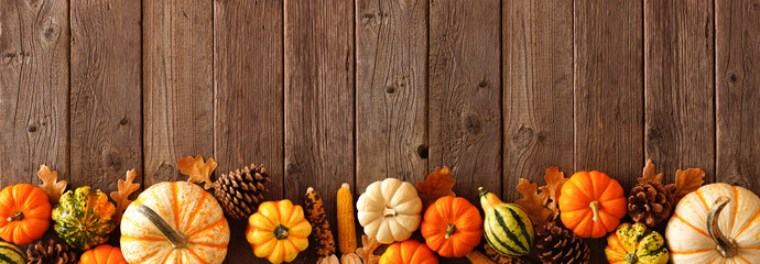 Obraz Autumn bottom border banner of pumpkins, gourds and fall decor on a rustic wood background with copy space - fototapety do salonu