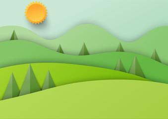 Paper beautiful nature landscape background