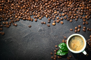 Keuken foto achterwand Cafe Cup of espresso with coffee beans